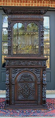Antique French Oak Black Forest HUNT Cabinet Bookcase Harvest Buffet Cupboard #2