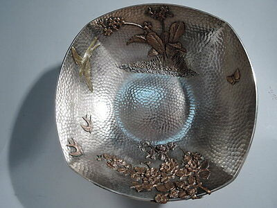 Gorham Bowl - 1580 - American Hand Hammered Sterling Silver & Mixed Metal - 1880