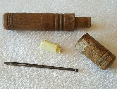 Antique Sewing Bodkin Needle with Wooden Case Sail Repair