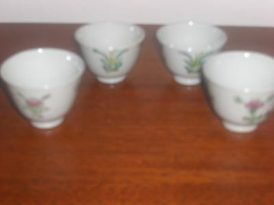 4 Antique Chinese H And Painted Porcelain Tea Cups