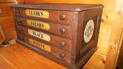 Antique Country Store Vintage 4-Drawer Spool Cabinet / CLARKS SPOOLS