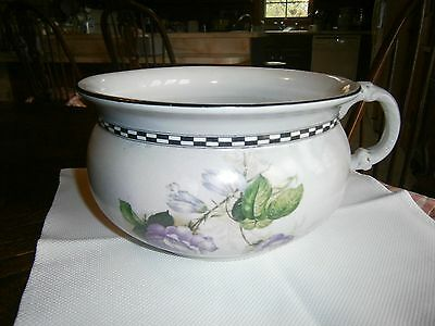 VINTAGE Purple Rose w/Green leaf China Chamber Pot - Excellent Cond.