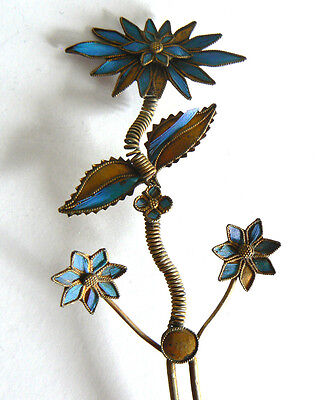 Long Qing Dynasty Kingfisher feather Hair Pin Antique Chinese 19th Tian-tsui 點翠