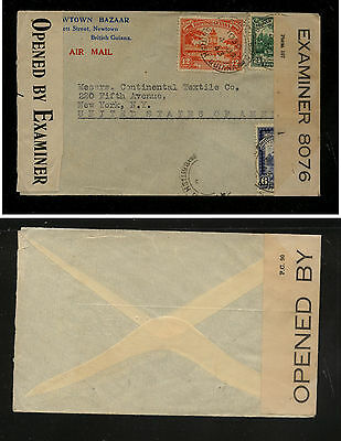 British  Guiana  double censor cover to  US        KEL1207