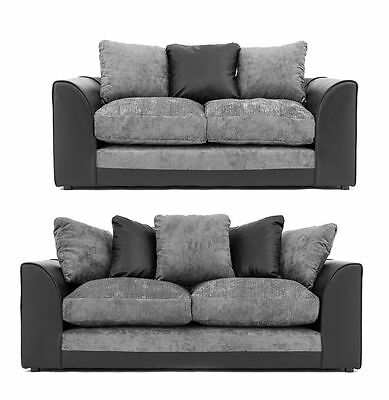 Dylan 3 & 2 Seater Sofa In Black/grey | 1 Year Warrenty | 6 Different Colors