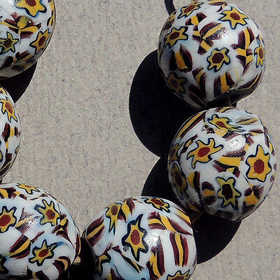 6 old antique venetian round shooting star millefiori african trade beads #3199