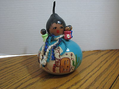 Hand Painted Gourd American Indian Desert Southwest Pueblo Cactus Woman