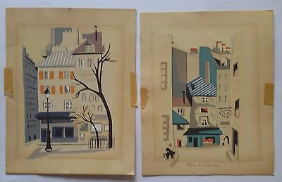 2 Vintage Painted Woodblock Paintings Prints Paris France