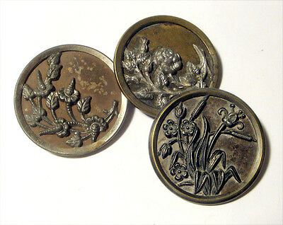"""Lot 3 Antique Picture Buttons FLOWER Variety  ~ 1 1/2"""" Large Victorian"""