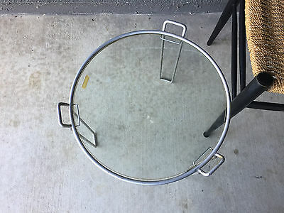 Saporiti Round Glass Table Minimalist Vintage Mid Century Modern French Eames