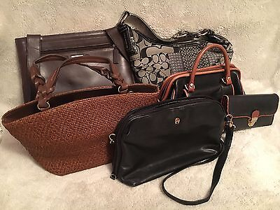 Fossil, Coach, Etienne Aigner Lot of 5 designer Purses + Matching Aigner Wallet