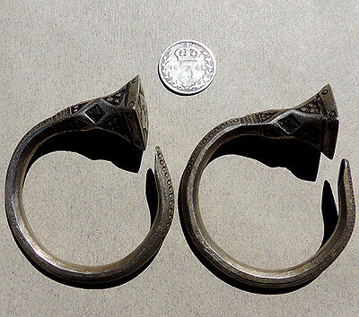 a pair of old silver ornate earings tuareg mali niger #56