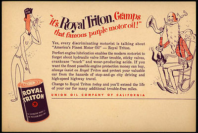1950s Oversize Union 76 Dealer Postcard Advertising Royal Triton Motor Oil