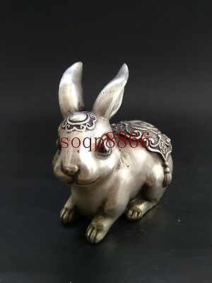 EXQUISITE Old CHINESE SILVER COPPER HANDWORK CARVED LIFELIKE RABBIT STATUE