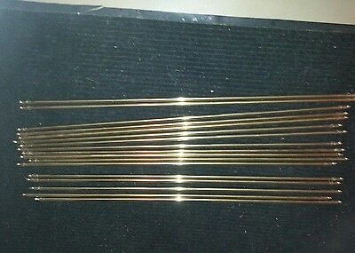 Set of 17 Solid Brass Stair Carpet Rods with 2-piece clips
