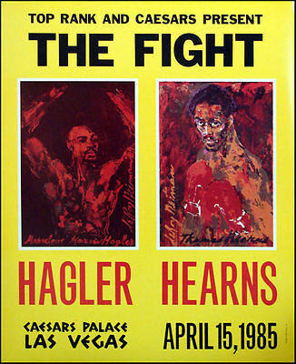 Lot of 10 Leroy Neiman The Fight Marvin Hagler Thomas Hearns Poster Boxing Vegas