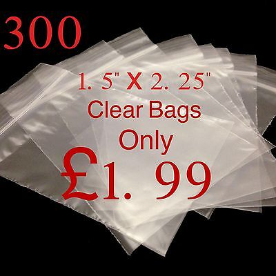 "300 Small Clear 1.5"" x 2.25"" Resealable Plastic Bags Polythene Grip Seal"