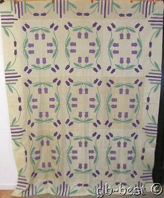 Marie Webster c 1930s May Tulips Vintage Applique QUILT Top 94 x 74 RARE