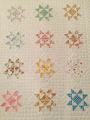 Patchwork Stars Antique Quilt, hand-pieced and hand-quilted in pastels
