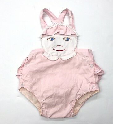 1950s Pink Baby Togs Ruffle Bum Embroidered Girls Face Romper Sunsuit 12-18 Mos