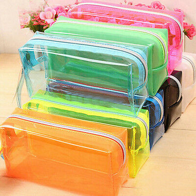 S/L Size Pencil  Case Cosmetic Bag Clear Makeup Pouch Zipper Toiletry Holder  OZ