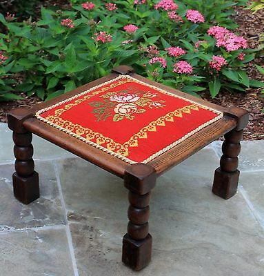 Antique English Oak RED Needlepoint Bobbin Twist Upholstered Bench Foot Stool