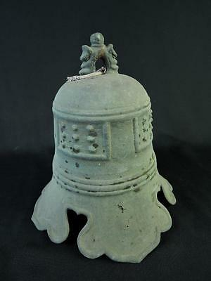 B5789: Japanese Old Copper Arare pattern FIRE BELL Buddhist art