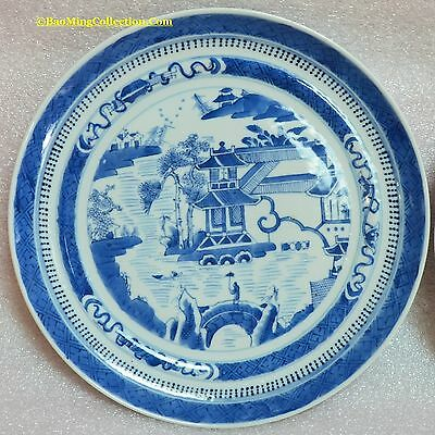 Pair early 19thC Qing Chinese Willow Canton Blue and White Porcelain Plates