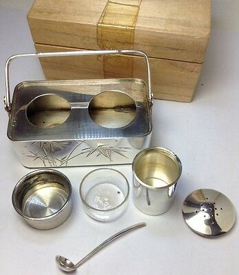 New Old Stock JAPANESE 970 Sterling Silver Salt Cellar & Pepper Shaker Set