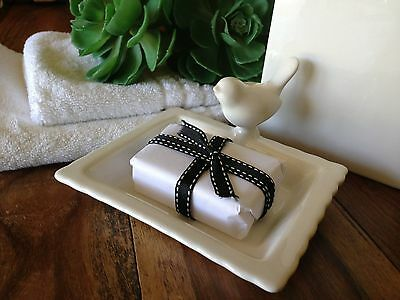 White Ceramic Soap Dish with Bird/Bathroom/Kitchen/Plate/Holder/Shower/Bath