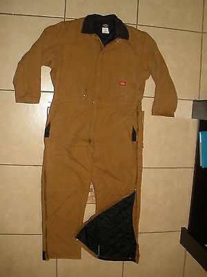 DICKIES workwear ARTIC QUILT LINED Insulated Brown duck canvas COVERALLS XL Reg