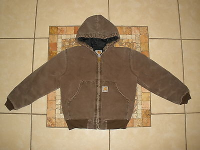Boys Kids CARHARTT Y06 QUILTED NYLON Lined HOODED sandstone duck Jacket M