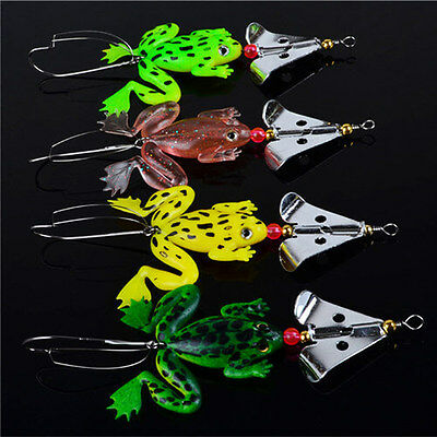 Mini Fishing Lures Set 4 Pcs / LOT Rubber Soft Frog Bass SpinnerBait Tackle US