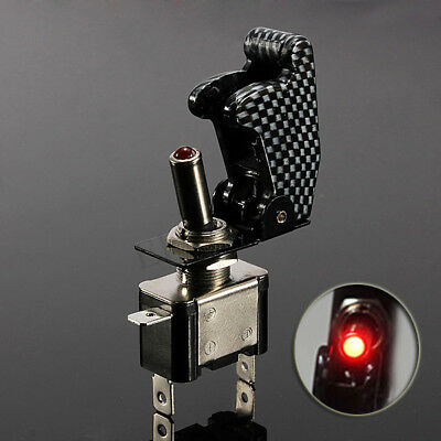 Carbon Fiber Cover Car Truck Red LED Rocker Toggle Switch On/OF SPST Control 12V