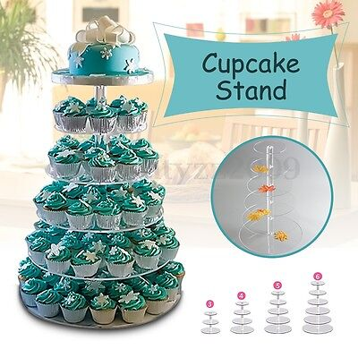 3/4/5/6/7 Tier Clear Acrylic Round Cup Cake Cupcake Stand Wedding Party New