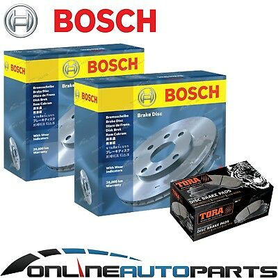 BOSCH - 2 Front Disc Rotors + Brake Pads Commodore VL 6cyl VN VG VP V6 1986~5/92