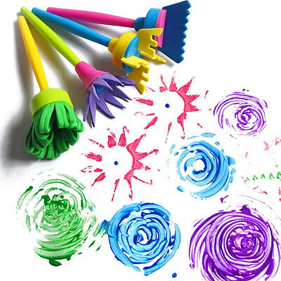 4Pcs Kid Chidren Rotary Painting Brush Painting Graffiti Toy Kit Paint Tool New