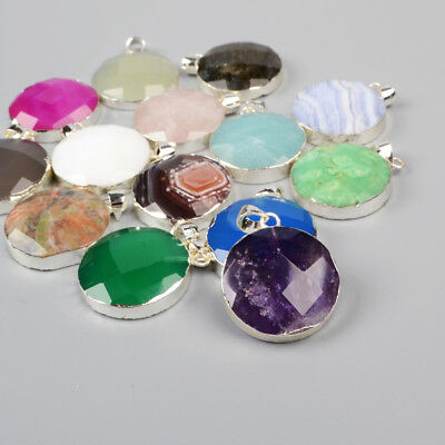 5Pcs 925 Sterling Silver 20mm Round Faceted Pendant, Multi-Kind Stone NEW BSS142