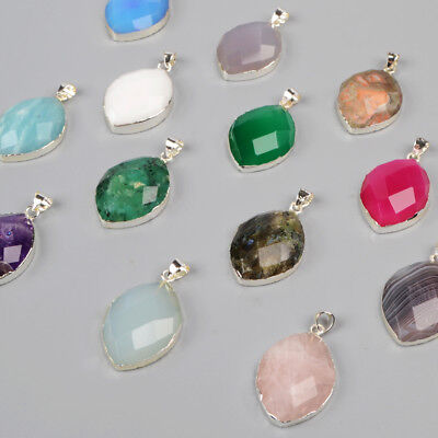 5Pcs 925 Sterling Silver Marquise Faceted Pendant, Multi-Kind Stone NEW BSS144
