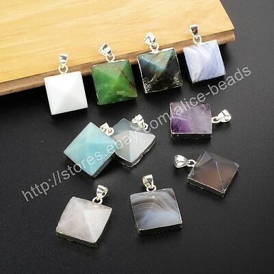 5Pcs 925 Sterling Silver Pyramid Point Faceted Pendant, Multi-Kind Stone BSS152