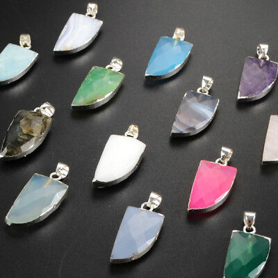 5Pcs 925 Sterling Silver Cute Horn Faceted Pendant, Multi-Kind Stone NEW BSS160