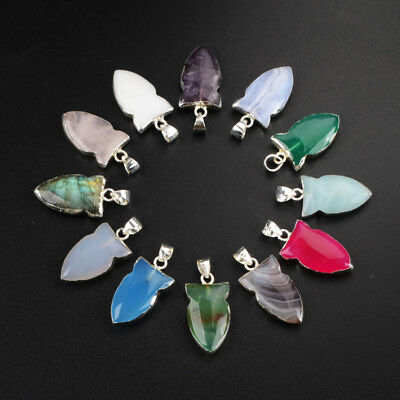 5Pcs 925 Sterling Silver Arrowhead Faceted Pendant, Multi-Kind Stone NEW BSS163