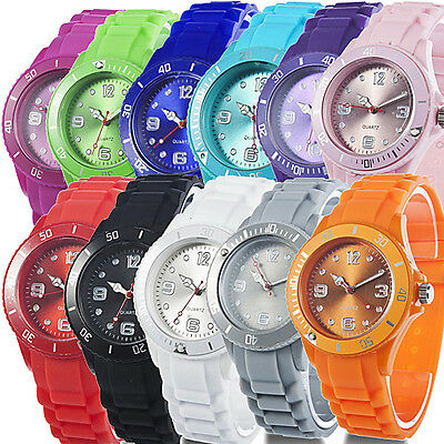 Stylish Silicon Jelly Strap Unisex Women Lady Girls Wrist Watch Colorful Comfy