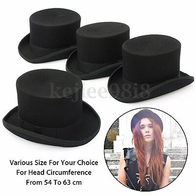Vintage 100% Wool Victorian Mad Hatter Top Hat  Wedding Ascot Cap Adults Unisex