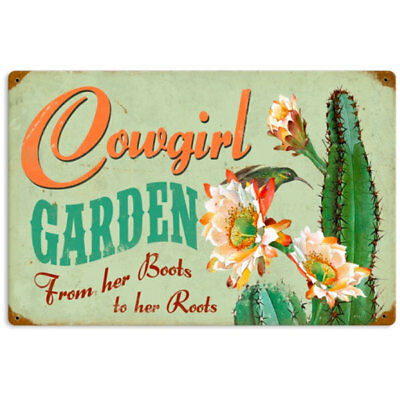 Cowgirl Garden Boots to Roots Cactus Metal Sign Vintage Greenhouse Decor 18 x 12