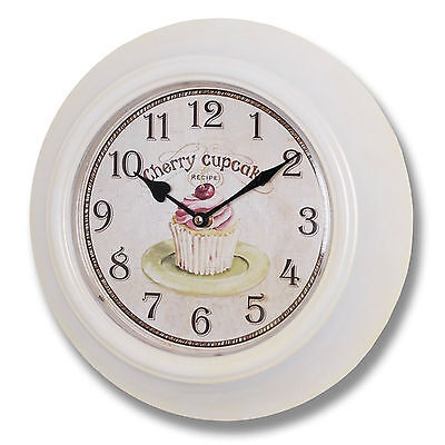 Pink White Cherry Cupcake Baking Kitchen Framed Round Metal Wall Clock