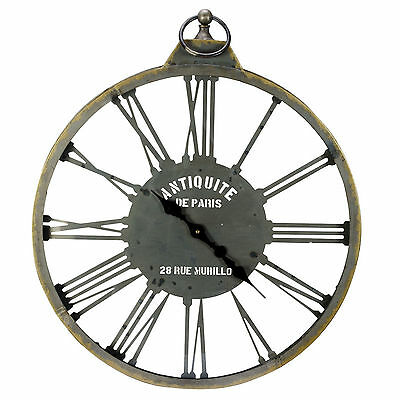 Large Grey Metal French Antique Style Skeleton Round Kitchen Hallway Wall Clock