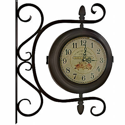 Ornate Station Brown Floral Round Antique Style Wall Clock With Bracket
