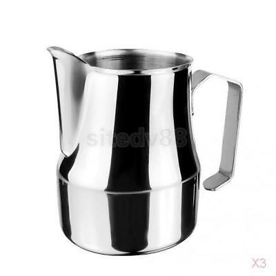 3x Stainless Steel Espresso Coffee Pitcher Craft Latte Milk Frothing Jug 350ml