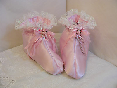 Adult Baby Sissy Booties Padded Pink Satin Opt Lock Chain Bells & Colour Cosplay